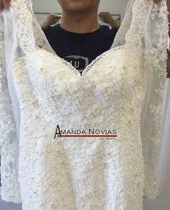 Image 5 - Новый дизайн красивое свадебное платье с бисером и юбкой годе с рукавами 2017