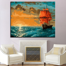 Sunset Sailboat Sea Wave Landscape Picture By Numbers DIY Painting Kits Hand paited On Linen Canvas Home Decor Unique Gift