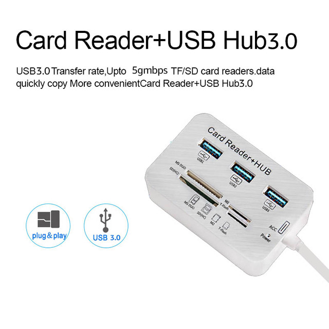 Micro USB Hub 3.0 Combo 3 Ports Card Reader High Speed USB Splitter All In One USB 3.0 Hub or PC Computer Accessories Notebook 2