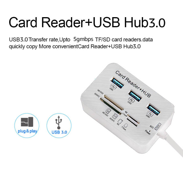 iMice USB HUB 3.0 Multi USB 3.0 HUB Splitter 3 Ports Card Reader Multi USB Hub Super Speed Micro Hab for Computer Accessories