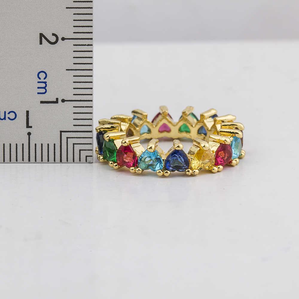 Горячая Распродажа, классическое Радужное Cz Золотое кольцо для женщин, девушек, модное обручальное кольцо, очаровательные вечерние ювелирные изделия, подарок