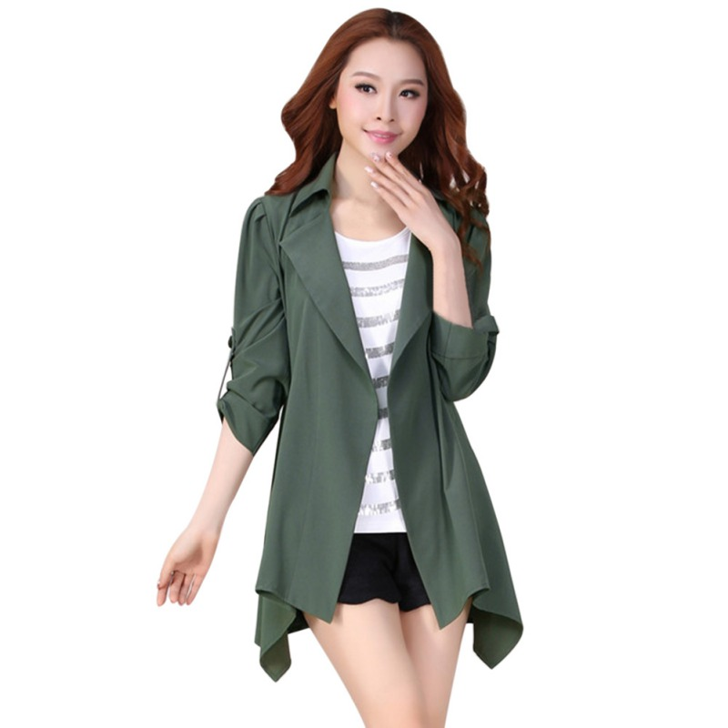 2019 Autumn Formal Outwear With Belt New Fashion Women\'s Casual open stitch   trench   thin coat brief business
