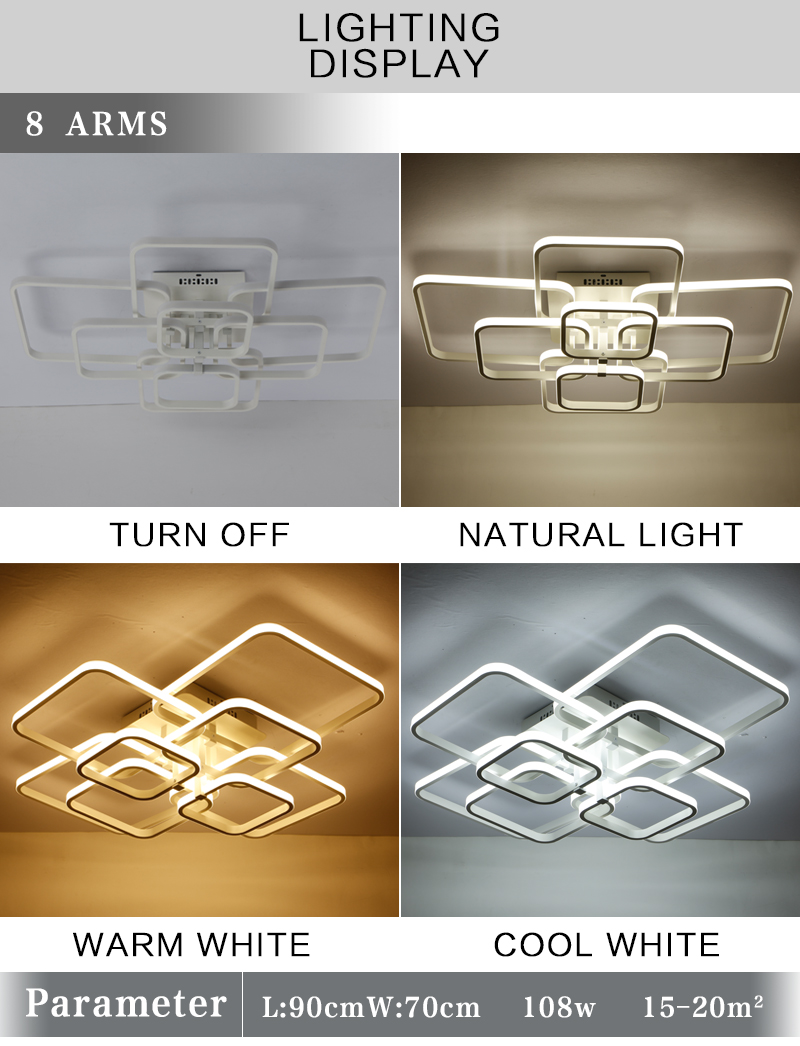 HTB12ufPavvsK1Rjy0Fiq6zwtXXaX New Square Rings Frame Modern Led Ceiling Lights For Living Room Bedroom White Or Black Arms Ceiling Lighting Fixtures AC85-260V