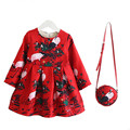 Otoño Invierno Vestidos de Las Muchachas + Bolsas 2 unids Floral Impreso Fleece Baby Girl Princess Dress For kids Party vestidos para Trajes de las niñas