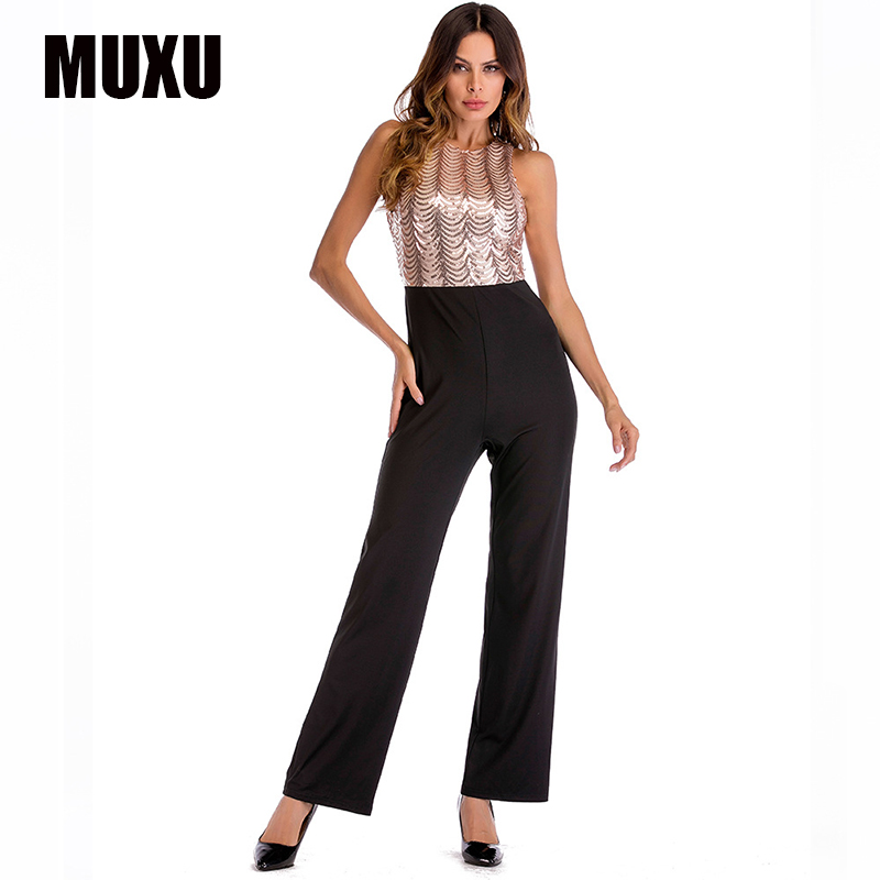 4bf87edbc1 MUXU gold sequin jumpsuit bodysuit women rompers womens europe and ...
