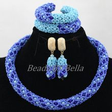 Lovely Braid Choker Necklace for Women Nigerian Wedding Party Blue Crystal Beads Bridal Lace Jewelry Sets Free Shipping ABK807