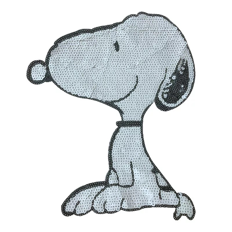 Large White Snoopy Dog Sequined Sew On Patches For Clothes Cartoon Sequins SNOPY Patch Sewing DIY 2pcs/lot