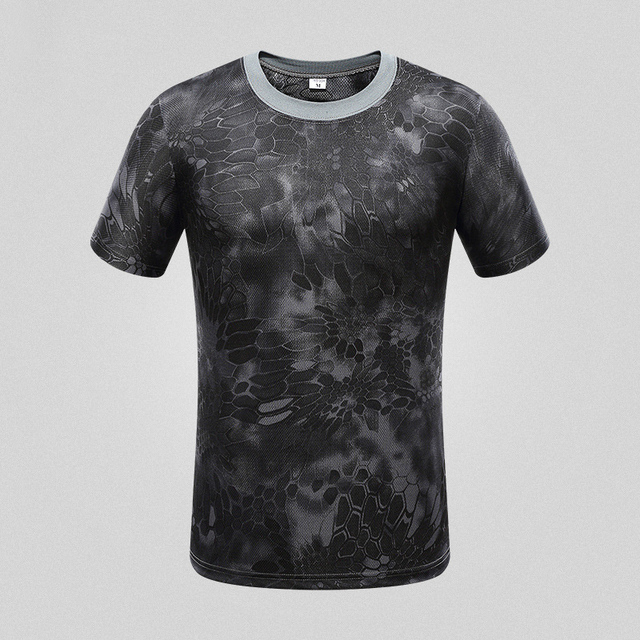 Tactical Military Camouflage Man T-shirt US Army Combat Short Sleeve T Shirt flash dry outdoor Hunting Camping Hiking Tees