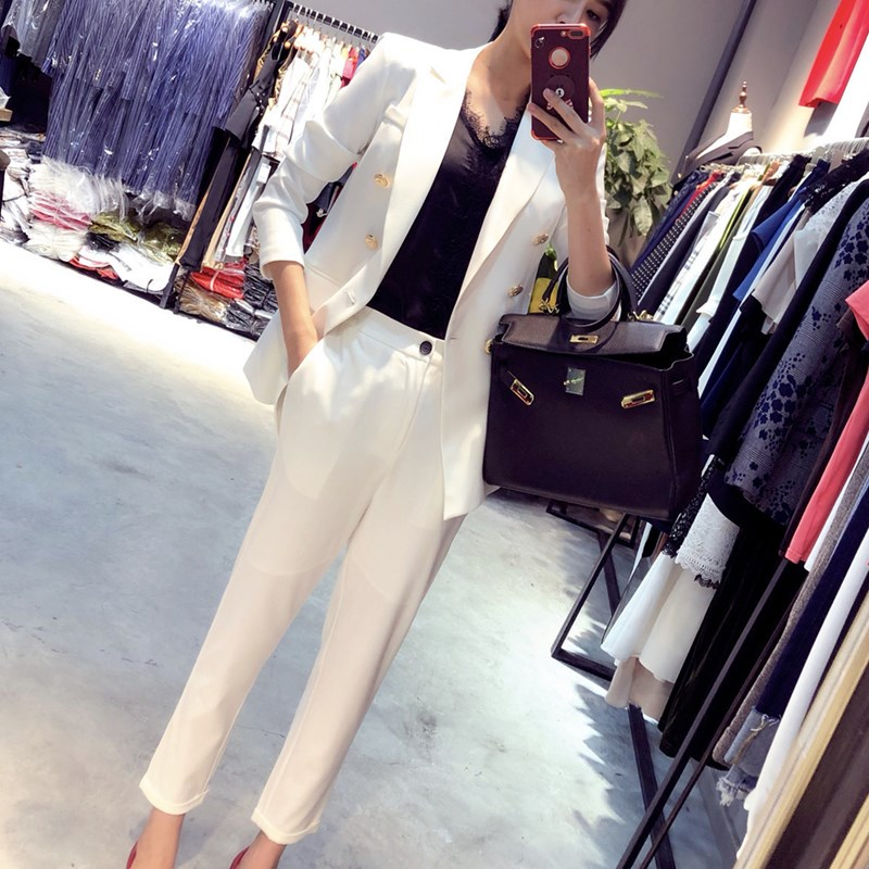 Petit Veston 2 Costume Vêtements Printemps De Deux Slim Travail Femelle Femmes Neuf Lâche Pantalon Tempérament Ensembles Nouveau 1 2019 Décontracté TnUYwqA0w