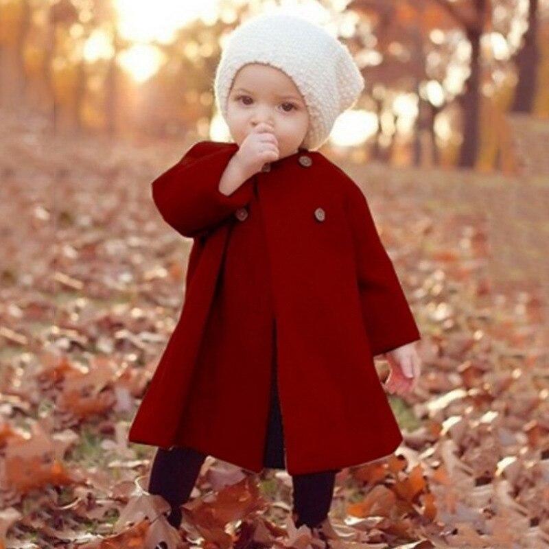 f51c861a10 LILIGIRL 2019 Baby Girl Casacos Roupas Longo Blusão de Lã Casacos Crianças  Manto Botão Outwear para Meninas Casaco Macacão Novo