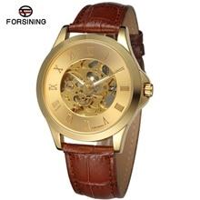 Forsining hombres reloj mecánico esquelético del reloj hombre relojes de cuero Relogio Masculino moda de lujo Casual reloj de pulsera