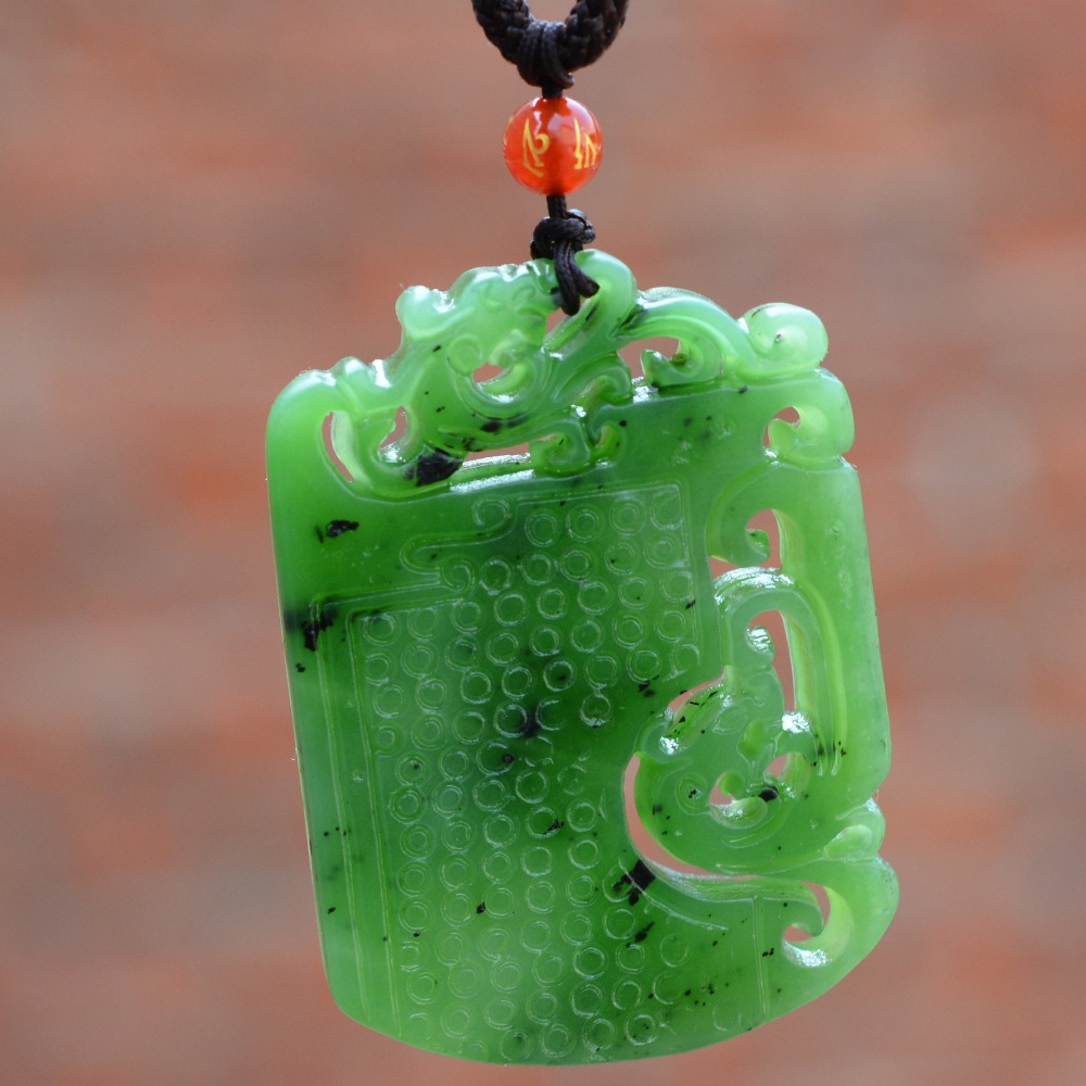(Certificate) Natural Green Stone Hollow Pendant Hand Carved Chinese Dragon Phoenix Pendant Necklace Men's Jewelry chinese red bronze carved buddhism dragon figure of dragon king sculpture statue
