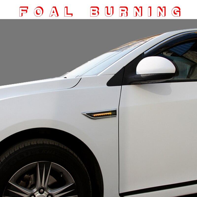 FOHLEN Brennen Led Side Drehen Signale Vorder Schalten Licht Aufkleber für Chevrolet Chevy Cruze 2009-2012 2013 2014 2015 2 teile/satz