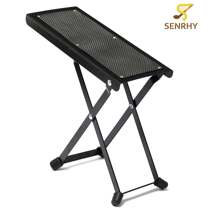Foldable Anti-Slip Guitar Foot Rest Stool Metal Guitar Pedal 4 Adjustable Height Levels Black High Quality Guitar Parts