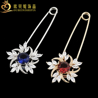 OBN Fashion Large Colored CZ Flower Decorative Safety Pins Hijab Charm Brooch Jewelry