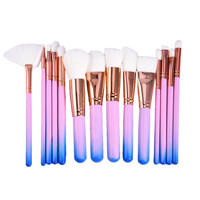 15pcs RoseGold Makeup Brushes Set Rainbow Hair Cosmetic Foundation Eye Shadow Blusher Powder Blending Brush Set
