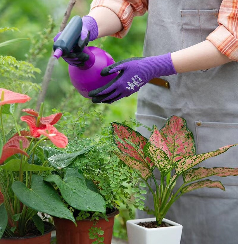 Children Gardening Glove  2 Pairs  Women Safety Glove Nylon With Nitrile Sandy Coated Garden Work Glove