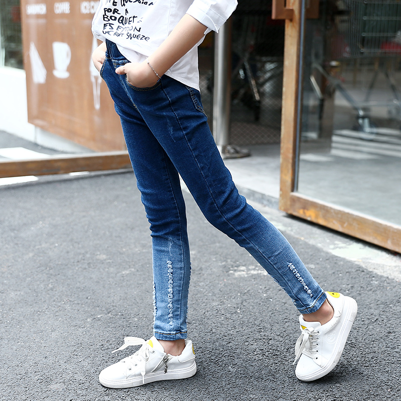 Girl Jeans 2018 Autumn Spring Long Denim Trousers Casual Skinny Pants Teenage Girls Fashion Clothes 5 6 7 8 9 10 11 12 13 Years thhone skinny jeans women mid waist denim pant long trousers casual fashion pencil pants femme stretch embroidered jeans women