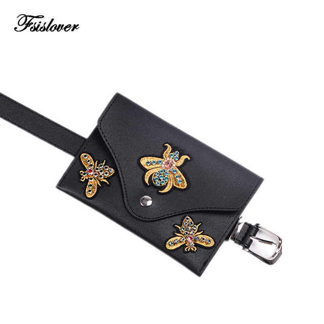 Dropshipping Punk Style waist bag Vintage Embroidery women Waist fanny Packs belt bag with Diamond PU leather chest handbag