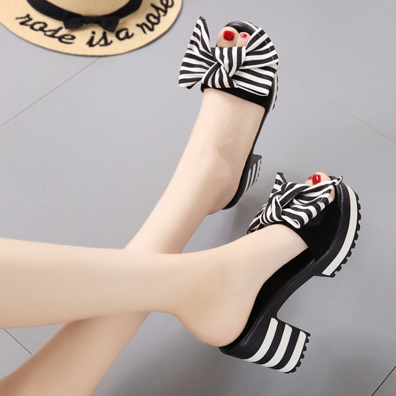 summer big bow women high-heeled sandals peep toe stripe platform pumps shoes(China)