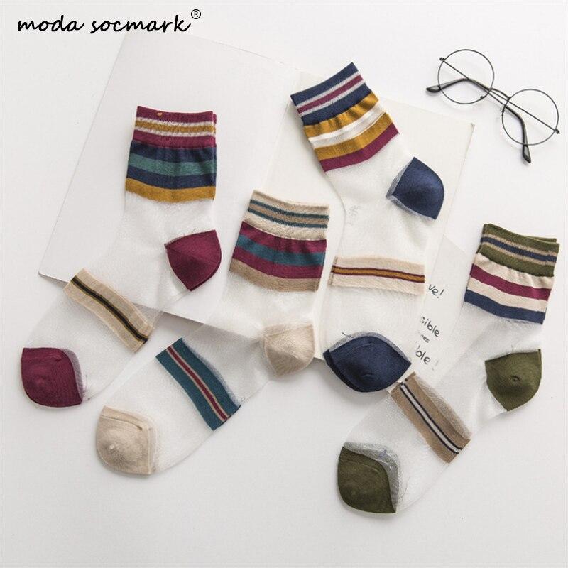 2020 New Women Socks Fashion Sheer Mesh Glass Silk Socks Ultrathin Transparent Crystal Lace Fabulous Elastic Summer Ankle Sock