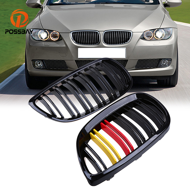 POSSBAY 1 Pair Gloss Black Auto Front Wide Kidney Hood Center Grills For BMW 3-Series E92 Coupe M3 2007-2013 Exterior Accessor
