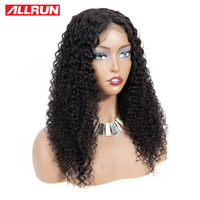ALLRUN Peruvian Lace Front Human Hair Wigs 13*4 kinky curly human Lace Frontal Wigs For Black Women Remy hair free shipping