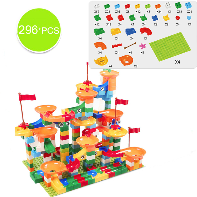 74-296 PCS Marble Race Run Maze Ball Track Building Blocks