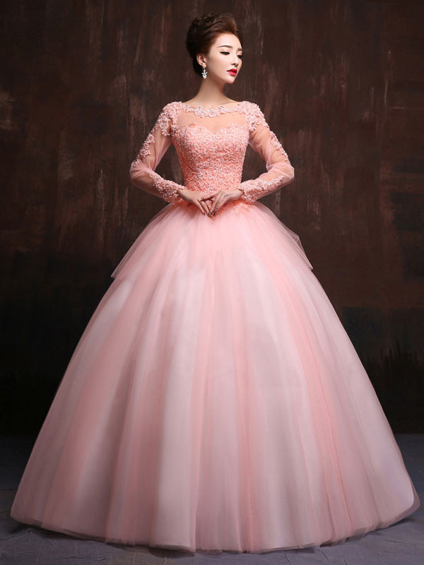 Modest Long Sleeves Ball Gown Prom Dresses Jewel Neck Lace Appliques ...