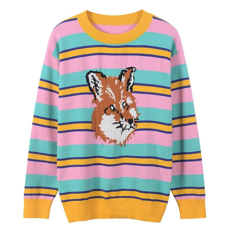 SRUILEE Sweet Dog Head Pattern Jacquard Sweater Autumn Winter Jumper Women Sweater Rainbow Striped Pullovers Knit Tops Runway