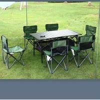 Уличный складной стол и стул набор 4/6 человек складной стол и стулья барбекю кемпинг самостоятельного вождения оборудования LM01111058