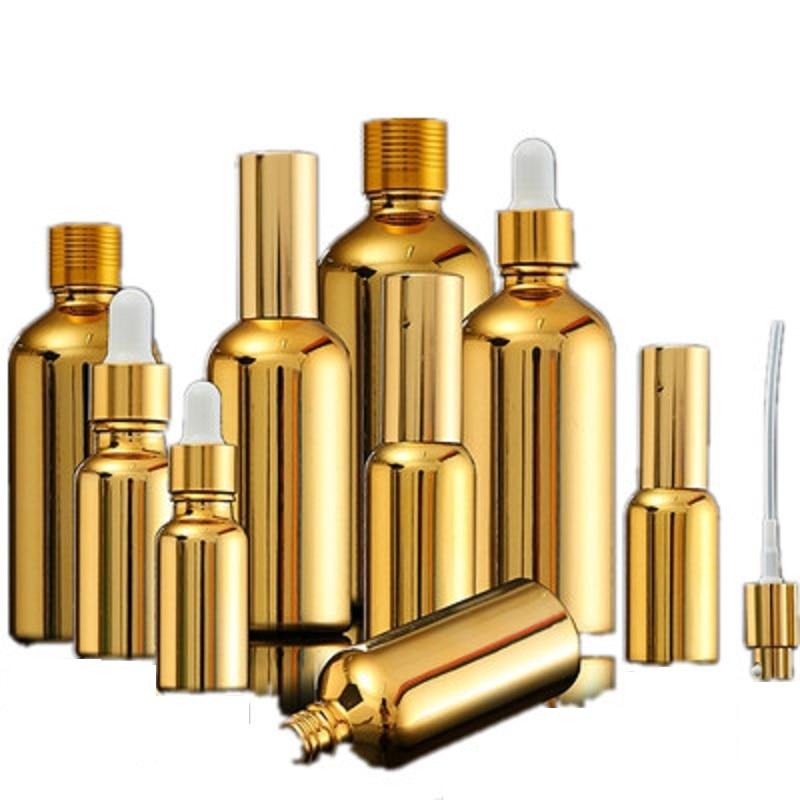 15 قطعة الذهب الزجاج زجاجات زيت طبيعي قارورة التجميل المصل التعبئة والتغليف غسول مضخة رذاذ رذاذ زجاجة بالقطارة زجاجة 5/20/30 مللي