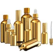 Botellas de aceite esencial de cristal dorado, frasco de suero cosmético para embalaje, bomba de loción, atomizador, frasco cuentagotas, 5/20/30ML, 15 Uds.