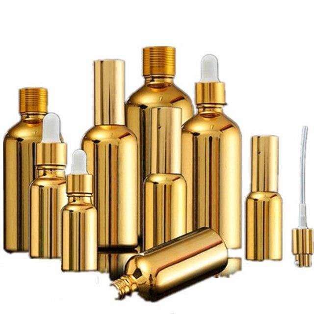 Flacons compte gouttes en verre doré, emballage pour huiles essentielles, sérum et cosmétique, 15 pièces, flacon compte gouttes pour pompe à Lotion, vaporisateur, flacon de 5, 20 ou 30ML