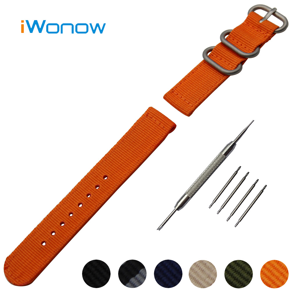 Nylon Watchband 18mm for Huawei Watch Stainless Steel Pin Buckle Band Strap Wrist Belt Bracelet Black Blue Green + Spring Bar survival nylon bracelet brown