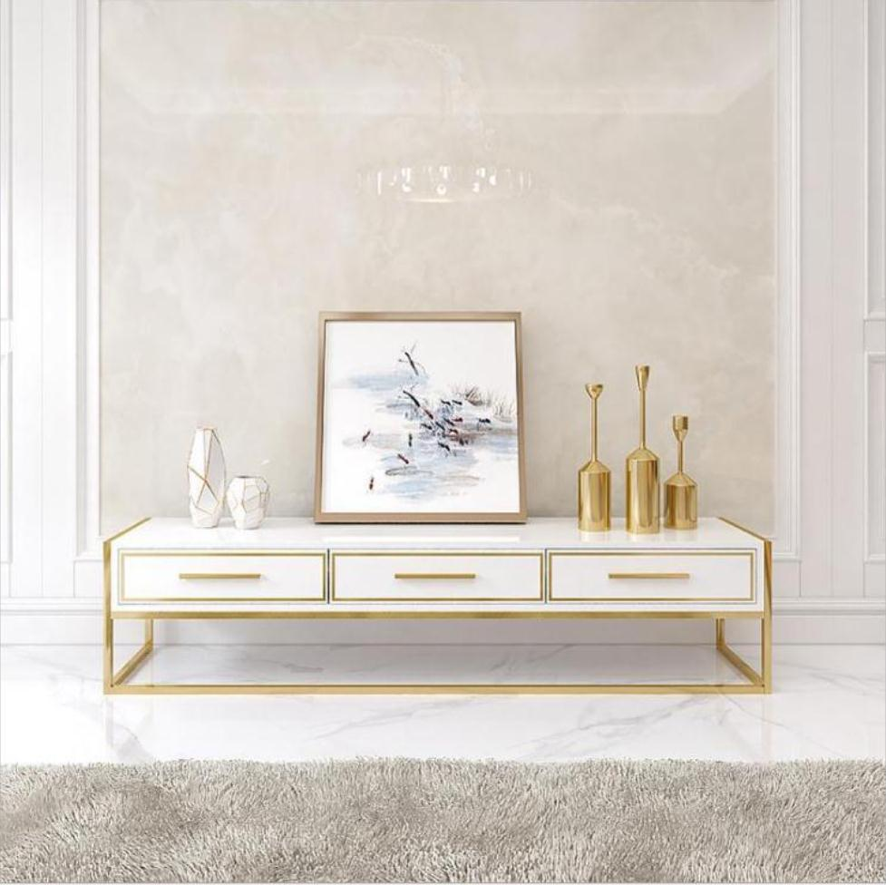 Light Luxury Modern Gold Color Tv Cabinet Modern Minimalist