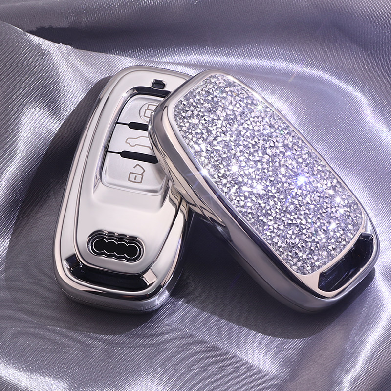 Image 3 - Diamond Car Key Cover Case For Audi A6L A4L Q5 A3 A4 B6 B7 B8 Smart Key Chain Keyring for Girls Women Gifts Shell Accessories-in Key Case for Car from Automobiles & Motorcycles