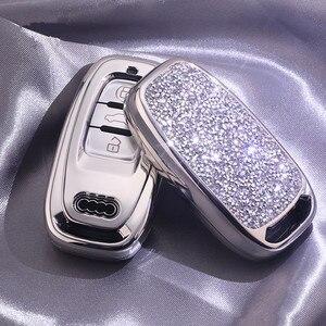 Image 3 - Nueva funda de diamante para llave de coche para Audi A6L A4L Q5 A3 A4 B6 B7 B8 llavero inteligente para niñas y mujeres regalos accesorios de concha