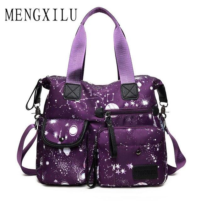Fashion Waterproof Shoulder Bags Nylon Mom Handbags Large Capacity Women Ping Travel Casual Bucket Design Tote