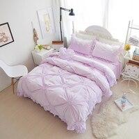 Fleece pleated winter Full Queen King size bedding sets girls purple blue beige pink princess duvet cover+Bedskirt+pillowcase