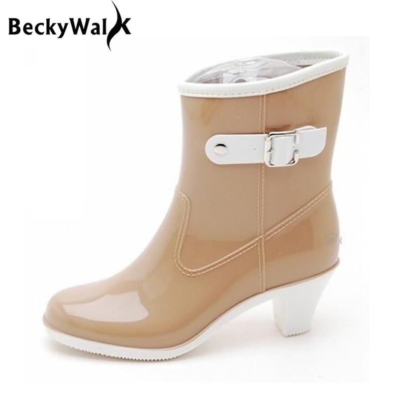 magasin d'usine e7a51 3e1e1 € 18.4 25% de réduction Chaussures de pluie pour femmes talons hauts Style  moyen bottes de pluie dames imperméables à talons hauts bottes de pluie ...