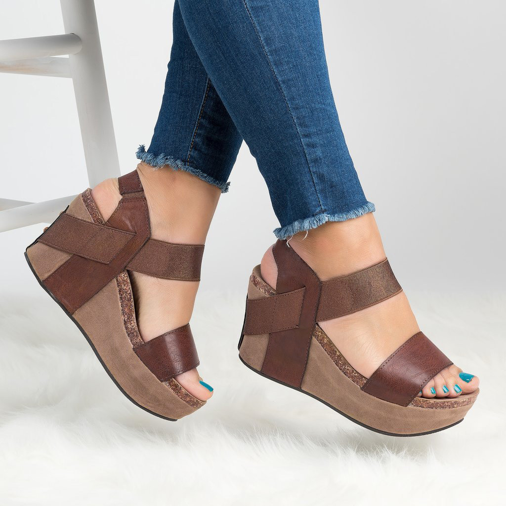 Women Round Toe Sandals Wedges Shoes Breathable Beach Sandals Rome Elastic Band Casual Wedges Sandals Sandalias Plataforma Mujer in High Heels from Shoes