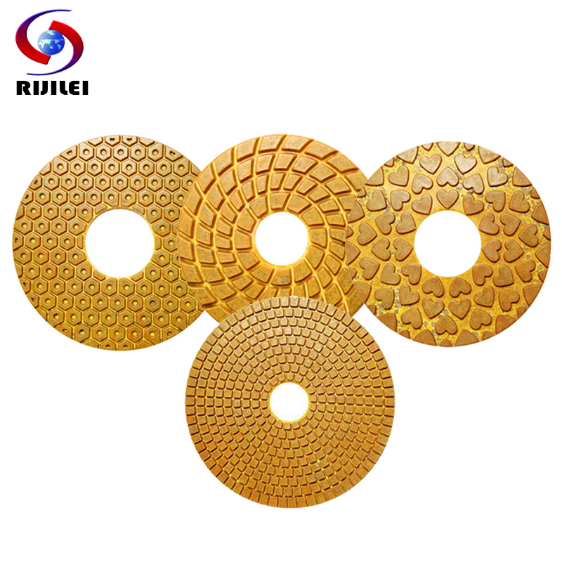 RIJILEI 5PCS/Set 150mm Super Diamond polishing pads 6inch copper metal bond pad for marble stone fast grinding HF06