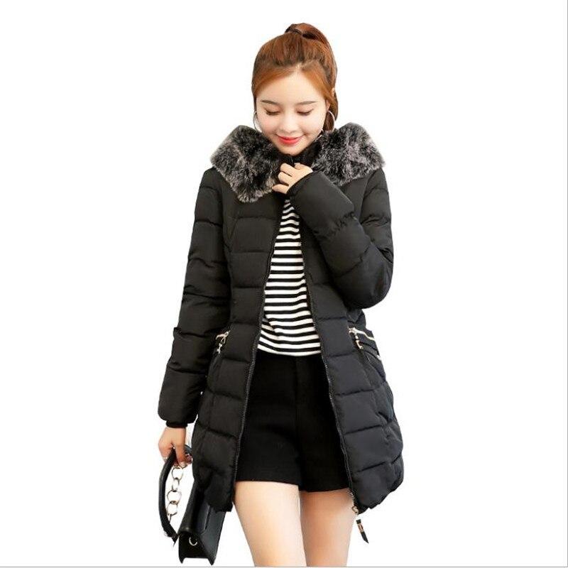Honesty Cotton Coat Womens Long Korean 2018 Autumn Winter Loose Cotton Casual Large Size 3xl Jacket Hooded Solid Cotton Jacket Parkas Parkas Women's Clothing