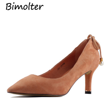 Bimolter Sheep Suede Pumps with Sweet Beads Middle Heels 4colors Pointed Toe handmade qaulity Shoes Genuine Leather Shoe LXSA009