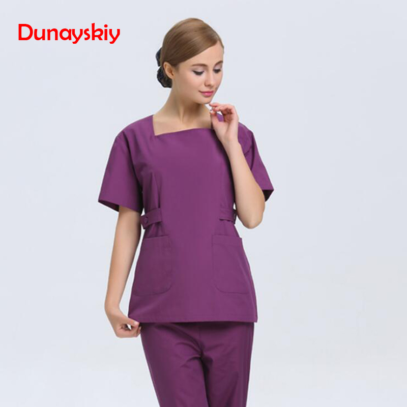 New Autumn Women Hospital Medical Scrub Clothes Set Fashionable Design Slim Fit Dental Scrubs Beauty Salon Purple Nurse Uniform