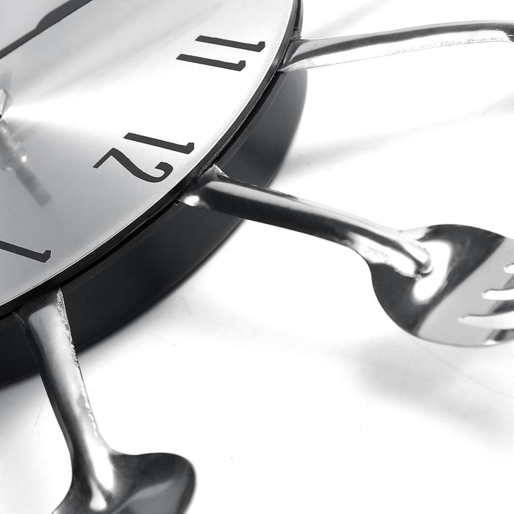 Modern Design Wall Clocks Sliver Cutlery Kitchen Utensil Wall Clock ...