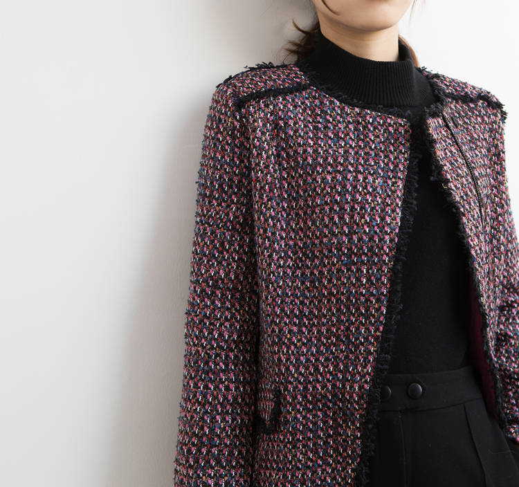 Wool blend vintage tweed zipper slim jacket coat