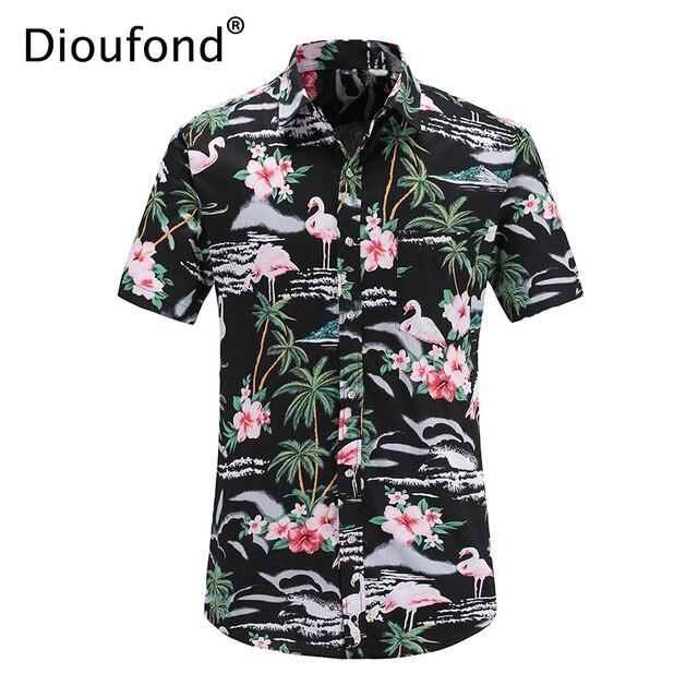 ชุดเดรสแฟชั่นผู้หญิงจาก damoufond ผู้ชายฤดูร้อนแขนสั้นสีชมพู Flamingo พิมพ์ฮาวายเสื้อ Casual Beach เสื้อผู้ชายดอกไม้ปุ่มลงเสื้อ fit