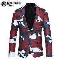 Auspicabile Tempo Slim Fit Cappotto Uomini Giacca Rossa Disegni di Moda di Marca Mens Casual Stampato Blazers Plus Size S-4XL DT208